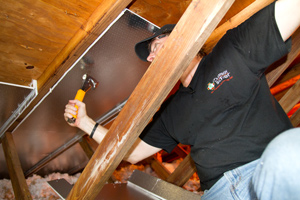 A radiant barrier installed in a Sicklerville attic